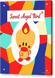 Cute Art - Sweet Angel Bird Multicolor Colorblock Logo Wall Art Print Acrylic Print
