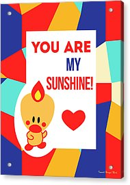 Cute Art - Sweet Angel Bird Multicolor Colorblock You Are My Sunshine Wall Art Print Acrylic Print