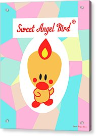 Cute Art - Sweet Angel Bird Pastel Colorblock Logo Wall Art Print Acrylic Print