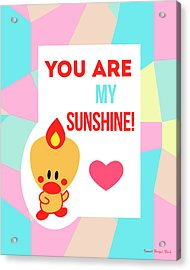 Cute Art - Sweet Angel Bird Pastel Colorblock You Are My Sunshine Wall Art Print Acrylic Print