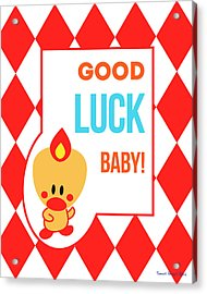 Cute Art - Sweet Angel Bird Red Good Luck Baby Circus Diamond Pattern Wall Art Print Acrylic Print
