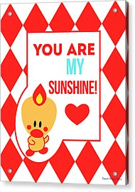 Cute Art - Sweet Angel Bird Red You Are My Sunshine Circus Diamond Pattern Wall Art Print Acrylic Print
