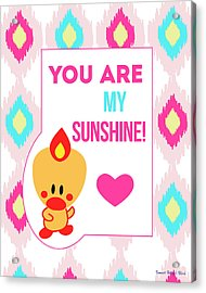 Cute Art - Sweet Angel Bird You Are My Sunshine Ikat Wall Art Print Acrylic Print