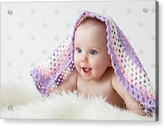 Cute Baby Laughing While Lying Under A Woollen Blanket. Acrylic Print