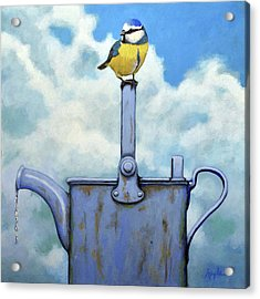Cute Blue-tit Realistic Bird Portrait On Antique Watering Can Acrylic Print by Linda Apple