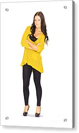 Cute Casual Brunette Hair Woman Isolated On White  Acrylic Print by Jorgo Photography - Wall Art Gallery