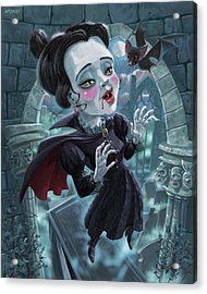 Acrylic Print featuring the digital art Cute Gothic Horror Vampire Woman by Martin Davey