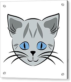 Cute Gray Tabby Cat Face Acrylic Print by MM Anderson