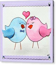 Cute Lovebirds Watercolour Acrylic Print
