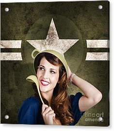 Cute Military Pin-up Woman On Army Star Background Acrylic Print