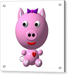 Acrylic Print featuring the digital art Cute Pink Pig With Purple Bow by Rose Santuci-Sofranko