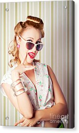 Cute Pinup Fashion Girl With Surprised Expression Acrylic Print