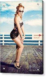 Cute Pinup Girl Looking Surprised On Beach Pier Acrylic Print