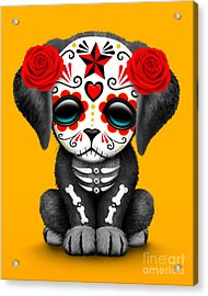 Cute Red Day Of The Dead Sugar Skull Dog  Acrylic Print