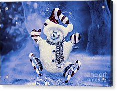Cute Snowman In Ice Skates Acrylic Print by Jorgo Photography - Wall Art Gallery