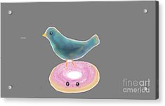 Kawaii Donut And Blue Bird  Acrylic Print