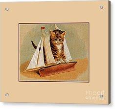 Cute Victorian Kitten, Wooden Toy Ship Acrylic Print