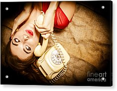 Cute Vintage Pin Up Girl Making Telephone Call Acrylic Print by Jorgo Photography - Wall Art Gallery
