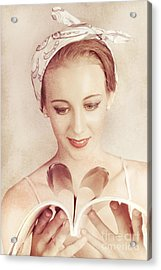 Cute Vogue Pinup Girl Reading Old Fashion Magazine Acrylic Print