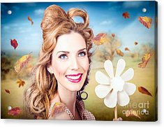 Cute Woman With Magnificent Hair. Beauty In Nature Acrylic Print by Jorgo Photography - Wall Art Gallery