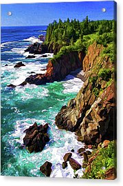 Cutler Coast Whitewater Acrylic Print by ABeautifulSky Photography