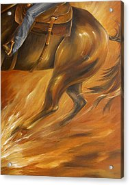 Acrylic Print featuring the painting Cutting Horse Closeup 2 by Dina Dargo
