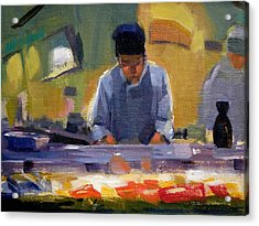 Cutting Sushi Acrylic Print by Merle Keller