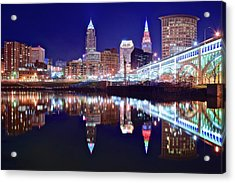 Cuyahoga Night Lights Acrylic Print by Frozen in Time Fine Art Photography