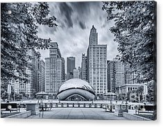 Cyanotype Anish Kapoor Cloud Gate The Bean At Millenium Park - Chicago Illinois Acrylic Print