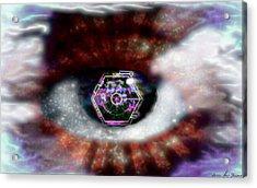 Acrylic Print featuring the digital art Cyber Oculus Cumulus by Iowan Stone-Flowers
