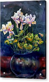 Acrylic Print featuring the painting Cyclamen In A Vase by Gertrude Palmer