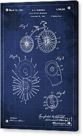 Cycle Driving Mechanism Patent Blueprint Year 1930 Blue Background Acrylic Print by Pablo Franchi
