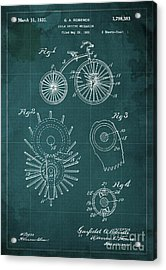 Cycle Driving Mechanism Patent Blueprint Year 1930 Green Background Acrylic Print by Pablo Franchi