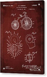 Cycle Driving Mechanism Patent Blueprint Year 1930, Red Background Acrylic Print by Pablo Franchi