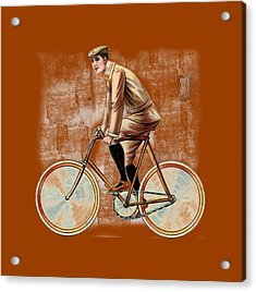 Cycling Man T Shirt Design Acrylic Print by Bellesouth Studio