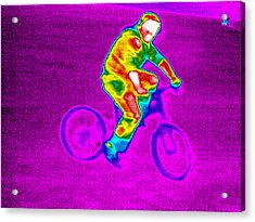 Cycling, Thermogram Acrylic Print by Tony Mcconnell