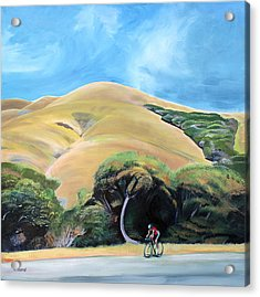 Cyclist By Elephant Mountain Acrylic Print by Colleen Proppe
