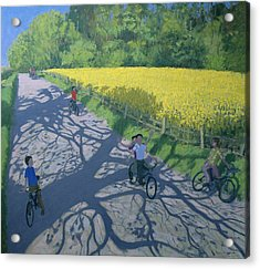 Cyclists And Yellow Field Acrylic Print by Andrew Macara