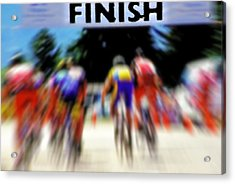 Cyclists Crossing The Finish Line Acrylic Print by Steve Ohlsen