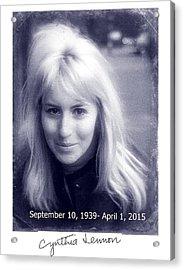 Cynthia Lennon Acrylic Print by Allen Beilschmidt