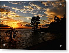 Cypress Bend Resort Sunset Acrylic Print by Judy Vincent