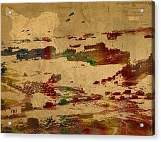 D Day Landing At Normandy France World War Two Watercolor On Old Canvas Map Of War Plans Acrylic Print