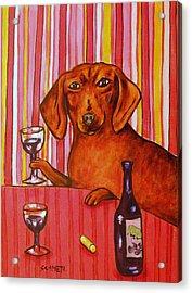 Dachshund At The Wine Bar Acrylic Print by Jay  Schmetz