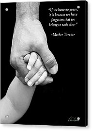Daddy's Hand Acrylic Print by Diana Haronis