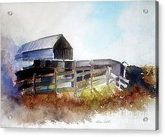 Acrylic Print featuring the painting Dad's Farm House by Allison Ashton