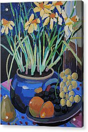 Daffodills And Fruit Acrylic Print