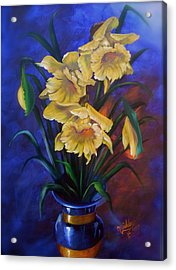 Daffodils In Cobalt Vase Acrylic Print by Micheal Giddens