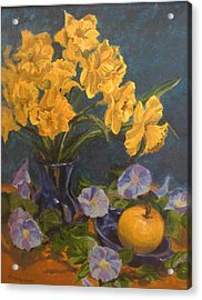 Acrylic Print featuring the painting Daffodils by Karen Ilari