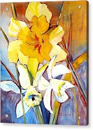 Daffodils Acrylic Print by Peggy Wilson