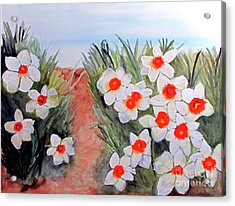 Acrylic Print featuring the painting Daffodils by Sandy McIntire